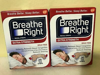 Breathe Right EXTRA STRENGTH 2-Pack, 26/Box = 52 Tan Strips. Free Shipping
