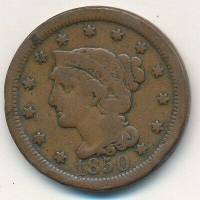 1850 Braided Hair Large Cent-Nice Circulated Large Cent-Ships Free! Inv:1