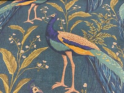 Tropical Paradise  Peacocks Teal LINEN  140cm wide Curtain/Upholstery Fabric