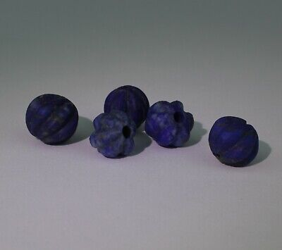 5 X Large Ancient Carved Lapis Beads - 021