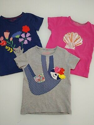 Lot of 3 girls Mini boden T shirt, Top Size 4-5-6 Year sloth, shell, mouse