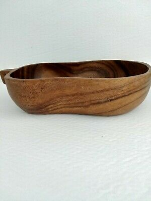 Nice Vintage teak peanut shape nut bowl decorative urban farmhouse mid century