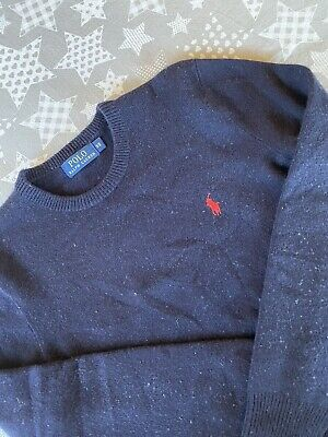 Mens Polo Ralph Lauren Crew Neck Jumper, 100% Lambs Wool, Dark Blue, Size XS