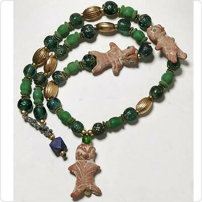 Beautiful Necklace with Ancient Glass beads & Dolls Beads amulet Rare   # 134