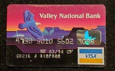 Valley National Bank Arizona Visa exp 1994 ♡Free Shipping♡cc895♡Eagle
