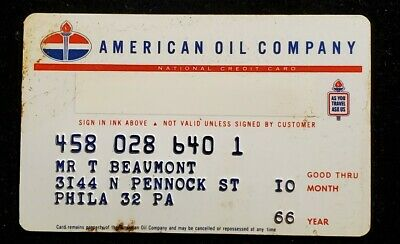 American Oil Company Credit Card exp 1966 ♡Free Shipping♡cc855♡