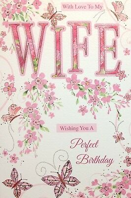 With Love To My Wife Birthday Card ~ Butterflies ~Nice Card ~ Verse ~ Made In UK