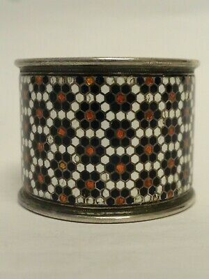 Antique Russian silver 84 champleve enamel napkin ring by Gustav Klingert