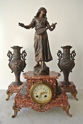 Antique French L & F Moreau Mantle Clock Musical Cherub Garniture