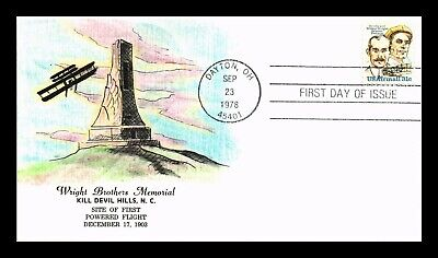 Dr Jim Stamps Us Wright Brothers Memorial Hand Colored Fdc Air Mail Cover C91