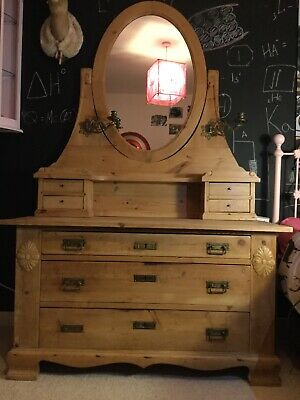 Gorgeous Large Antique Danish Pine Dressing Table With Mirror