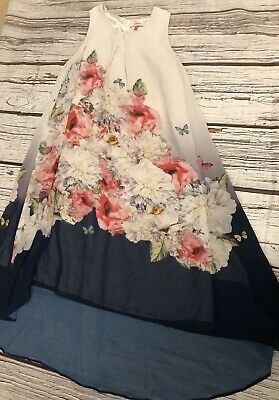 Girls Age 12 11-12 Tears Ted Baker Dress Navy Blue Floral Lined