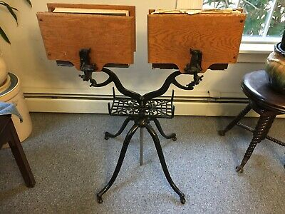 """Rare Double-Sided """"Columbia"""" Victorian Dictionary Bible Stand Cast Iron Oak"""