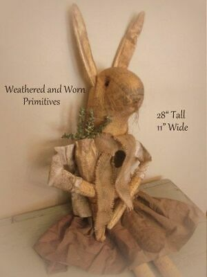 """Primitive Country 28"""" Aged Fabric Easter Bunny Rabbit with Skirt & Jacket"""