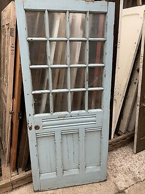 RECLAIMED - PITCH PINE - ORNATE & GLASS - LARGE FRONT DOOR  -Victorian / Vintage