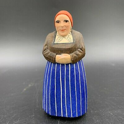 Vintage Carved Hand Painted Wooden Wood Swiss Old Lady Figurine Switzerland