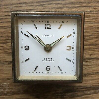 Vintage Swiss GUBELIN 8 Day 15 Jewels Mini TRAVEL Alarm Clock & Case