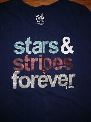 """JUSTICE Girls Size 20 Navy Blue Cotton/poly Top """"STARS & STRIPES FOREVER"""""""