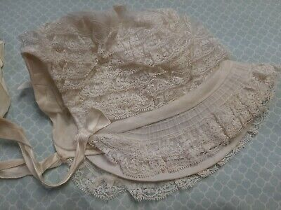 Vintage Penney's Toddletime Girl's Lace Bonnet Hat with Ties