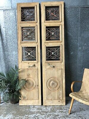 Architectural Antique Vintage French Doors With Wrought Iron Window Grills