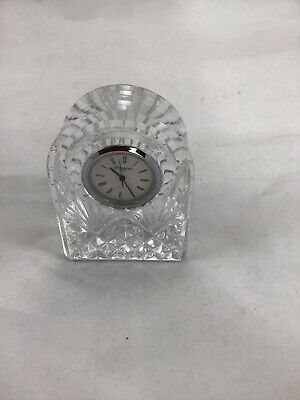 """Waterford Ireland Crystal Arched Domed Quartz Desk Clock Signed 3.5"""""""