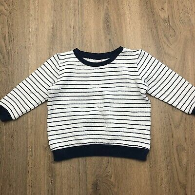Seed Heritage Kids Jumper Sz 3 White Navy Stripe Quilted T