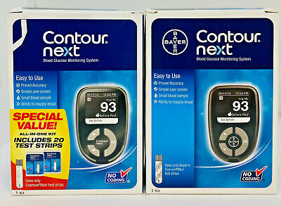 2-PACK Bayer Contour Next Blood Glucose Meter Monitoring System (SEE PICTURES)