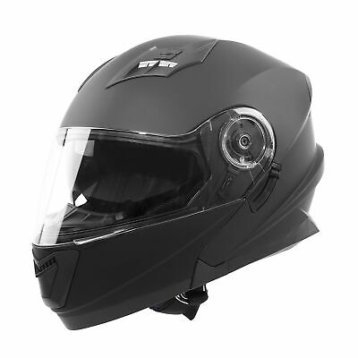 TCMT Dot Safety Matte Black Dual Visor Full Face Motorbike Off-road Helmet M~XL
