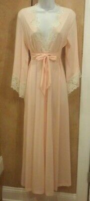VTG JOLIE Peach w/ Off White Lace LINGERIE Robe House Dress Gown Button Up Small
