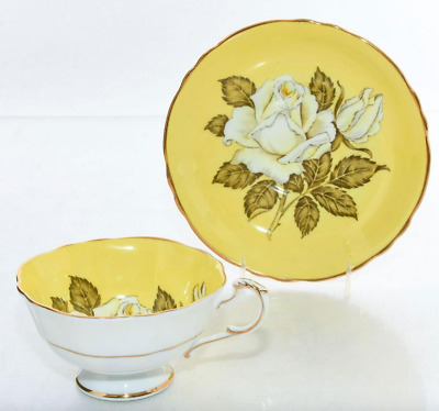 VntG Paragon White Lge Cabbage Rose Yellow Teacup Tea Cup Saucer double warrant