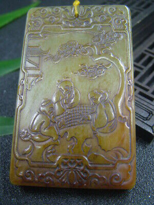 Antique Chinese Nephrite Celadon Hetian-OLD jade Play chess Statues/Pendant