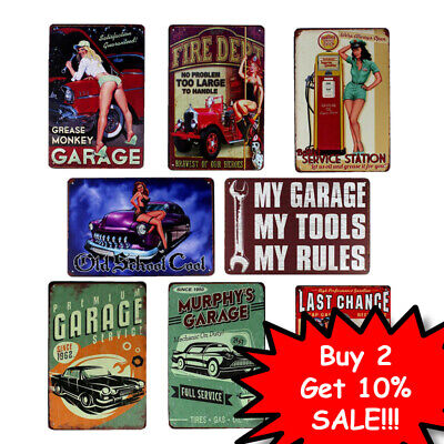 Retro metal Sign//Plaque Wall vintage My Garage My Rules Garage Gift
