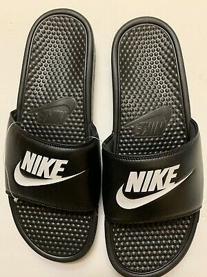 Nike Benassi Jdi Slides Swoosh Sandals  343880-090 Mens Size 14 Black White