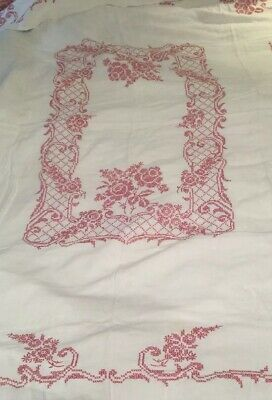 Vintage Heavily EMBROIDERED Linen TABLECLOTH Hand Made Beige