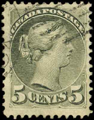 Canada #38 used F-VF 1876 Queen Victoria 5c olive green Small Queen
