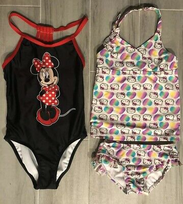 Lot of 2 Girls Disney Minnie Mouse 1 pc and Hello Kitty Tankini 2 pc swim suits