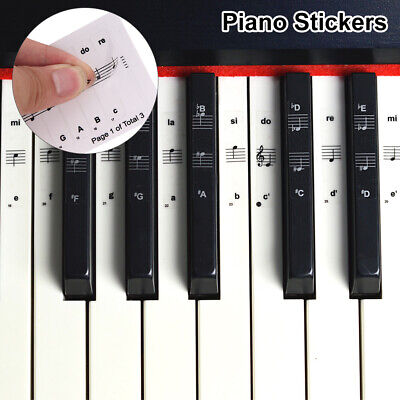 Piano Stickers Keyboard Music Note Chart Removable Decal 88/61/54/37/32 Keys UK
