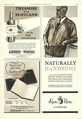 Vintage B&W Illustrated Advertising Print London News Grouse Langs Whisky 1962
