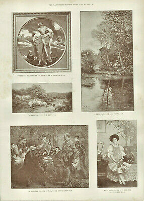 Antique Illustrated Print Collection Of Paintings By Various Artists 1892