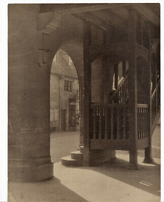 Vintage Real B&W Photograph Study Of Street And Stairwell