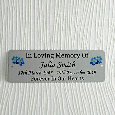 Memorial Bench Plaque Plate Personalised Name Dates Silver Metal