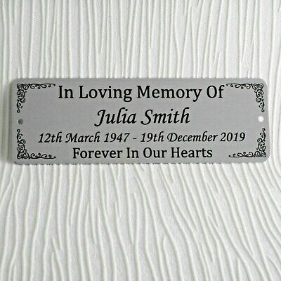Bench Plate Memorial Plaque Personalised Name Plate Sign Metal Pet Person