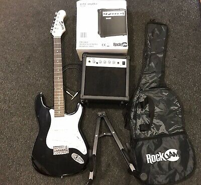 Rockjam Electric Guitar Bundle With 20 Watt Amplifier, stand and Case