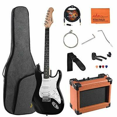 ADM Electric Guitar Beginner Kit 39 Inch Full Size Guitar Package with Black
