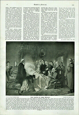 Antique B&W Illustrated Print The Death Of John Wesley By Marshall Claxton 1913