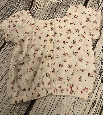 Girls Cream Next Plisse Ditsy Floral Blouse Top Summer Age 4 3-4 Hardly Worn