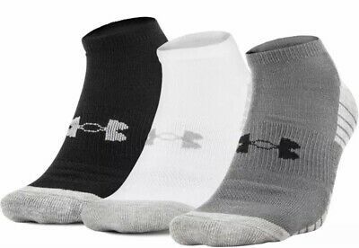 Under Armour No Show Socks Large 3 pack Black Training heatgear Athletic New Tag