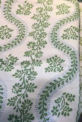 Sister Parish Dolly Lettuce and Blue  Linen Fabric 16 in. x 49 in.