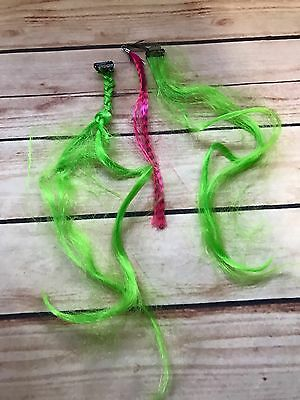 Set of 3 - Hair Piece Clip-In Colorful Highlight Clip-In Extension Green Pink