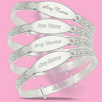 Personalised Baby Girl Bangle Silver Christening Bracelet Newborn Gift Pink CZ